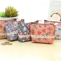 Girls Fashion Coin Bag Zipper Wallet Card Holder Floral Print Purse