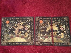 2 ANTIQUE 19th QI'ING CHINESE EMBROIDERED CIVIL RANK BADGE BIRD QUAIL EMBROIDERY
