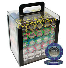 1000PCS MONTE CARLO COIN INLAY POKER CHIPS SET ACRYLIC CASE