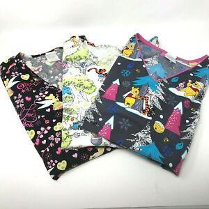 Disney Women's Scrub Tops Uniform Size 3X lot of 3 Pooh Piglet Tinkerbell Tigger