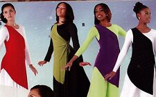 NWT Praise Top 4 colors Ladies Asymmetrical Tunic wear 1 or 2 sidetie liturgical