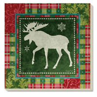 Patchwork Moose Christmas Holiday Absorbent Stoneware Coasters Set ~ Set/4