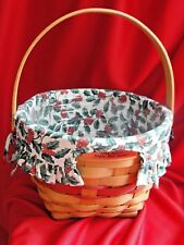 Longaberger 1994 Gold Tag Christmas Collection Jingle Bell Basket w/ Liner