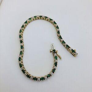 "14k Ladies Round Emerald and Diamond 7"" 2.50ctw Yellow Gold Tennis Bracelet"