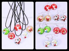 12 PC Christmas Double Sided Glass Fashion Necklace/Earrings Wholesale Jewelry