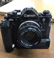 Rare Vintage Canon A-1 35mm SLR Film Camera W/ 50mm 1.8 Lens Motor Drive JAPAN