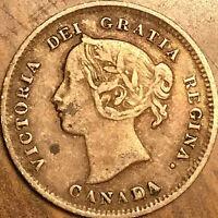 1897 CANADA SILVER 5 CENTS COIN