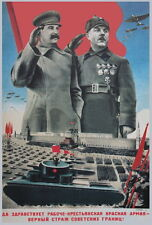"1935 Soviet ""Stalin mammoth"" tank T35 Moscow Red Square parade WW2 poster"