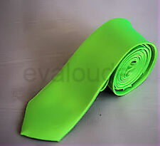 Skinny Bright Neon Green Mens Slim Plain High Quality Satin Neck Tie Necktie UK