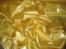 "YELLOW  WITH SILVER FOIL STRETCH CHARMEUSE SATIN FABRIC BY THE YARD 56"" WIDE"