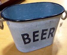Grey Rustic Shabby Chic Vintage Metal Beer Bucket Drinks Ice Cooler
