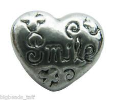 "A ""smile""  heart silver metal charm bead fit European snake charm chain"