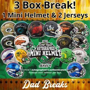 NEW ENGLAND PATRIOTS Signed Gold Rush Mini Helmet+2 Autographed Jersey BOX BREAK
