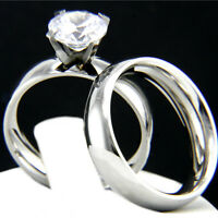 New Bridal Engagement Ring Stainless Steel Simulated Diamond Wedding Band Set