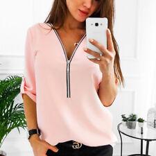 Damen Chiffon Bluse V-Ausschnitt Shirt Freizeit Hemd Oberteile Reißverschluss L