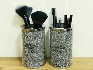 Silver Crushed Crystal Ladies Make-up Brush Holder Set for Accessories 13cm NEW