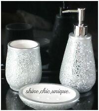 MOSAICO Argento Crackle Sparkle bagno Set 3 pezzi shabby chic