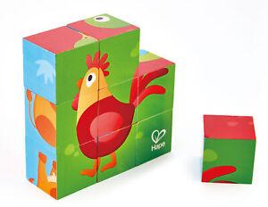 HAPE E1618 Farm Animal Block Puzzle 9pc 6 Picture Jigsaw Infant Toddler 24 Month