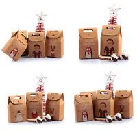 Christmas Present Gift-Box Kraft Paper Cartoon Packing Bag Santa Claus Reindeer.