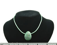 Unisex Tree Agate Green Leather Cord Pendant Necklace Sterling Silver Clasp