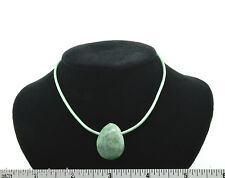Tree Agate Green Leather Cord Pendant Necklace SS Hook A013-3 FREE GIFT BOX