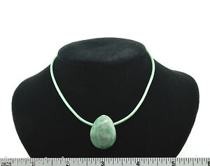 Unisex Tree Agate Green Leather Cord Pendant Necklace SS Clasp Defect Negativity