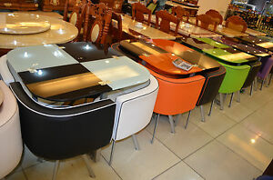 Glass dining table and 4 chairs retro  cafe   ==.( in 7 colours )..