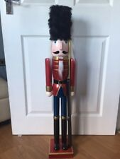 NEW 91cm Traditional Wooden Christmas Nutcracker Soldier Festive Red Gold