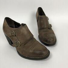 Born Davis Ankle Boots Size 7 Taupe Oiled Suede Heeled Strap Distressed Leather