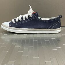 Prada Sport Womens Lace Up Cap Toe Low Top Sneakers Blue Suede Size 36.5