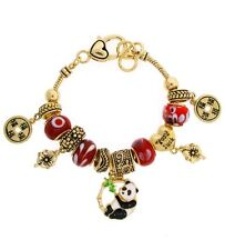 NEW GOLDTONE & RED PANDA BEAR HEART GOOD LUCK BEADED CHARM BRACELET