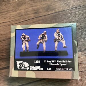 Verlinden 1:48 US Navy WWII Pilots Multi-Pose 3 Resin Figures Kit #1298