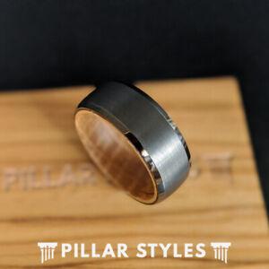 Gunmetal Whiskey Barrel Ring Mens Wedding Band Wood Ring Bourbon Tungsten Ring