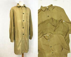 1960s Work Coat - Long Duster - Brown Herringbone Cotton Chore Jacket S M L XL