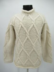 P5237 VTG Rey Wear Hand Hand Made 100% Wool  Pullover Fisherman Sweater