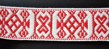 "Swedish Folk Art Woven Ribbon Wide Red & White 1.57"" 4 cm"
