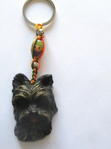 Spirit of Nature YORKIE - dog face- key ring/bag charm- black