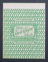 Etiquette savon EAU DE COLOGNE Antique Perfume Soap Label French Seife