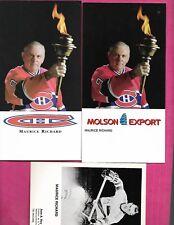 3 X RARE MONTREAL CANADIENS MAURICE RICHARD PROMO POSTCARD  CARD   (INV# C0263)
