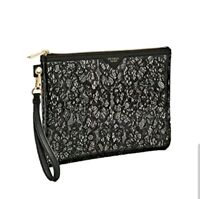 Victoria's Secret Black Floral Lace Large Beauty Cosmetic Wristlet Bag Zip-Up
