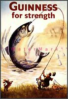Fishing Fisherman Guinness For Strength Vintage Poster Print Classic Beer Ad