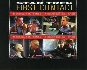 Chad Star Trek Stamps 2020 CTO First Contact Picard Riker Worf Movies 4v M/S