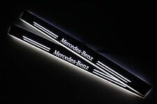 LED Sill For Mercedes Benz C W202 Scuff Door Entry Plate Cover Strips Step Logo