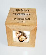 Foto de madera de Roble Personalizado Caja Caja Cubo recuerdo grabado-I Heart Mi Nan