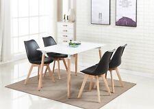 Jamie Dining Set - 4 x Jamie Tulip Dining Chairs & White Halo Wood Dining Table