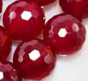 Natural 10mm Faceted Red Ruby Round Gemstone Loose Beads 15'' AAA+++