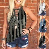 Summer Women's Casual Blouse Crew Neck Tunic Printed Tank Top Sleeveless T-shirt