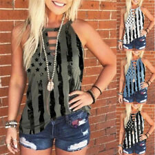 Summer Women's Casual Blouse Crew Neck Tunic Printed Tank Top Sleeveless T-shirt