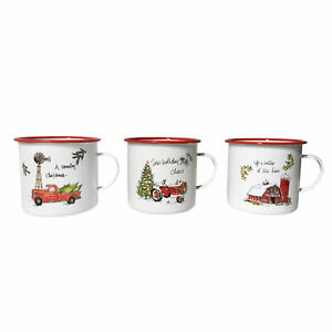 1L Red & White Set of 3 Large Christmas Enamel Mugs Featuring a Festive Farm The
