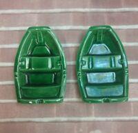 2 Norwegian Green Porcelain Boat Shaped Ashtrays